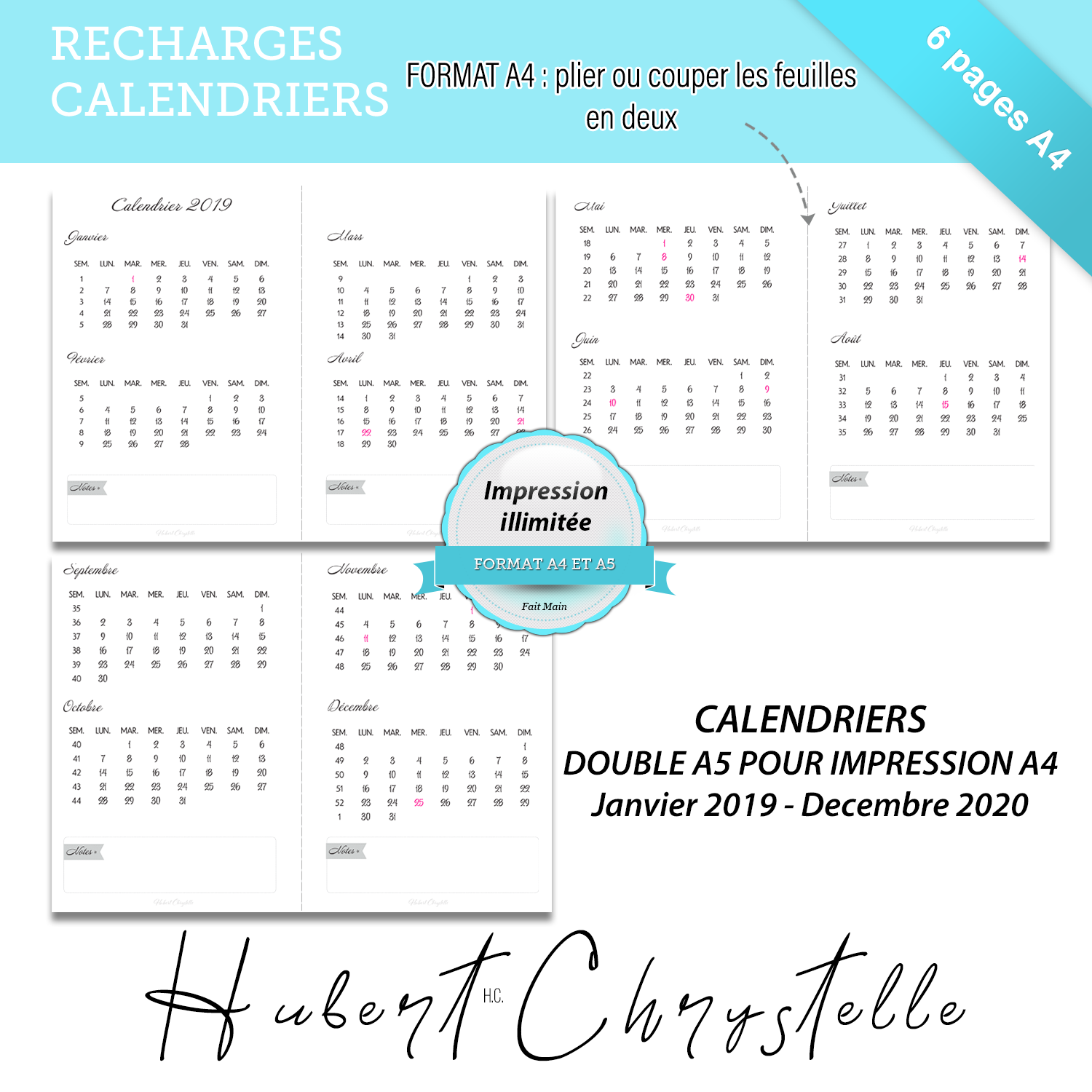 Calendrier 2019 2020 A Imprimer.Recharge Calendriers 2019 2020 Imprimable